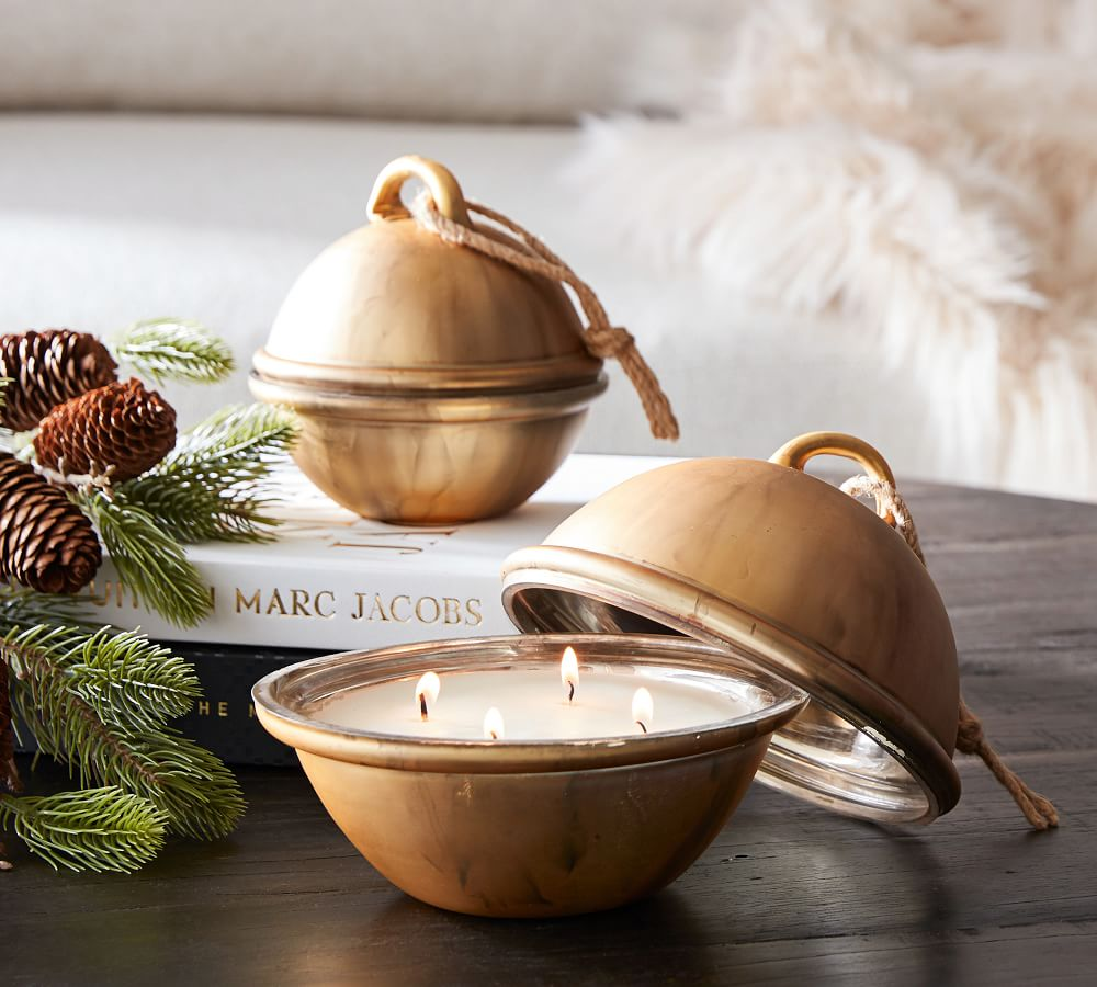 Gold Christmas bell candle to benefit St. Jude's - Pottery Barn.